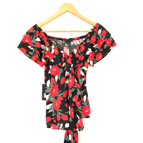 Gibson Red Floral Wrap Blouse with Ruffles NWT- Size XS