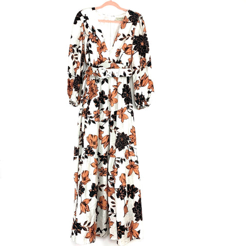 Nicholas White Floral Belted V-Neck Long Sleeve Dress- Size 12 (sold out online)