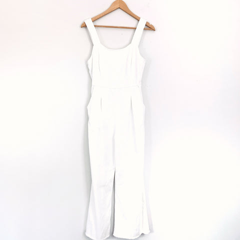 Emory Park White Denim Like Jumpsuit- Size S