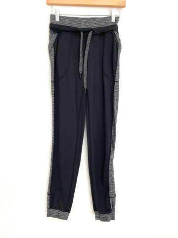 "Lululemon Black Jogger Pants with Side Stripe- Size 2 (Inseam 29"")"