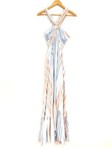 FATE Blue & Pink Striped Maxi Dress with Halter Neck Strap- Size M