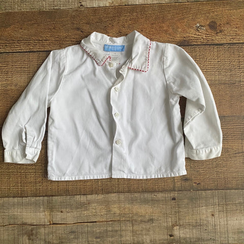 Monday's Child White Red Trim Button Up Shirt- Size 18M