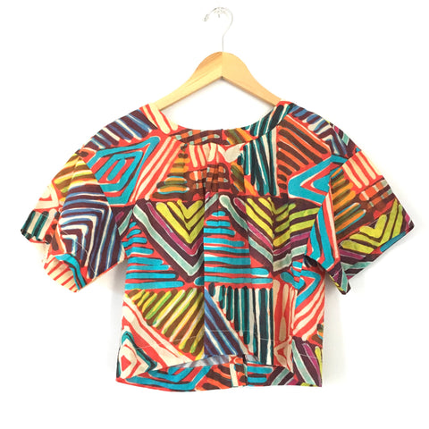 J Crew Colorful Cropped Top with Button Up Back- Size 4