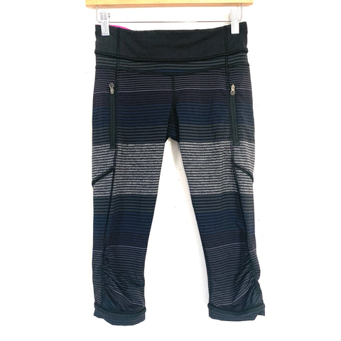 "Lululemon Black/Grey/Blue/Purple Striped Crop Legging with Ruching- Size 4 (Inseam 16"")"