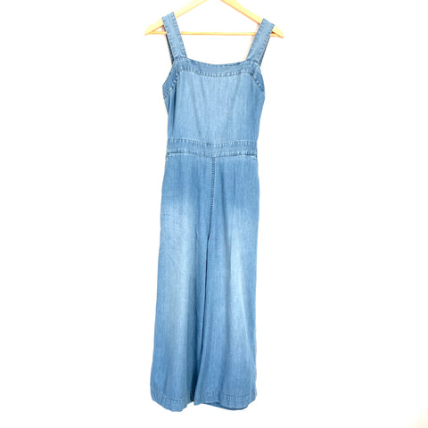 Madewell Chambray Exposed Bow Back Cropped Jumpsuit- Size 0