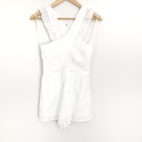Pink Lily White Eyelet Romper with CrissCross Front NWT- Size S