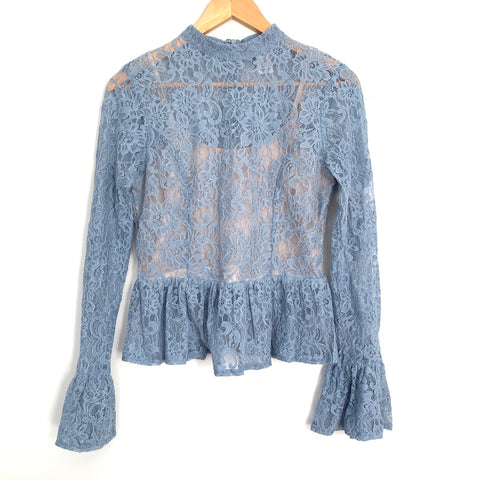 A. Calin by Flying Tomato Blue Lace Mock Neck Bell Sleeve Blouse- Size S