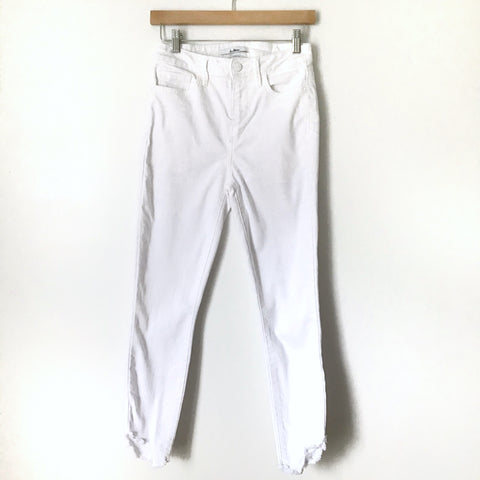 "Sam Edelman The Stiletto White High Rise Skinny Crop Jeans with Angled Raw Hem- Size 26 (Inseam 25"")"
