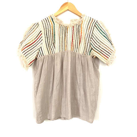 THML Colorful Striped Frayed Slit Sleeve Blouse - Size S