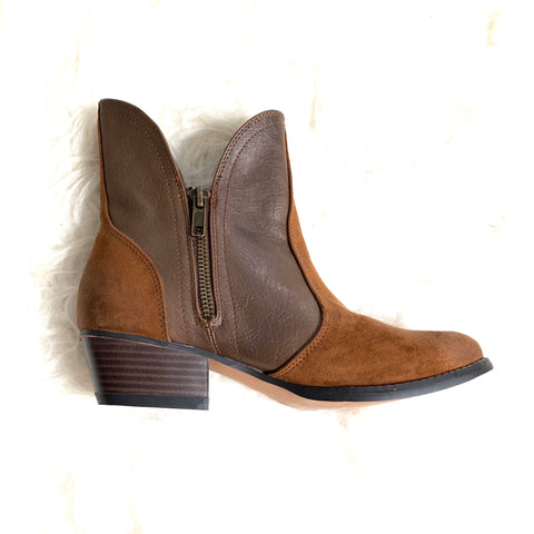 American Eagle Brown Booties with Zipper- Size 6
