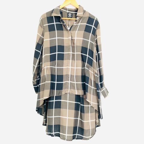 Bobeau Plaid Button Up with High-Low Hem NWT- Size XS