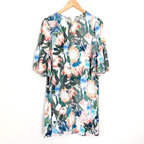H&M Floral Mini Dress with Ruffle Sleeve- Size 6