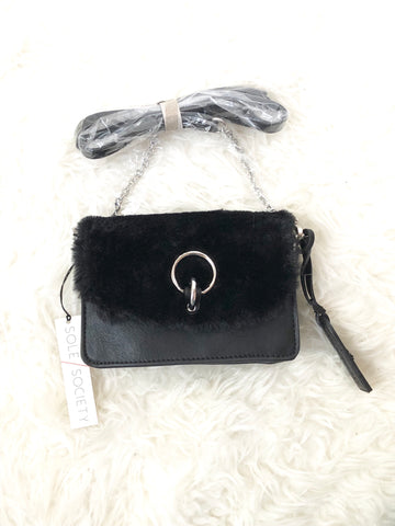 Sole Society Lebra Crossbody Faux Fur Crossbody NWT