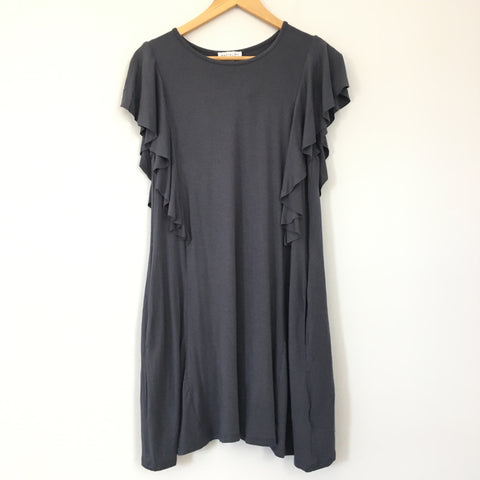 Socialite Dark Grey Ruffle Sleeve Tent Dress NWT- Size S