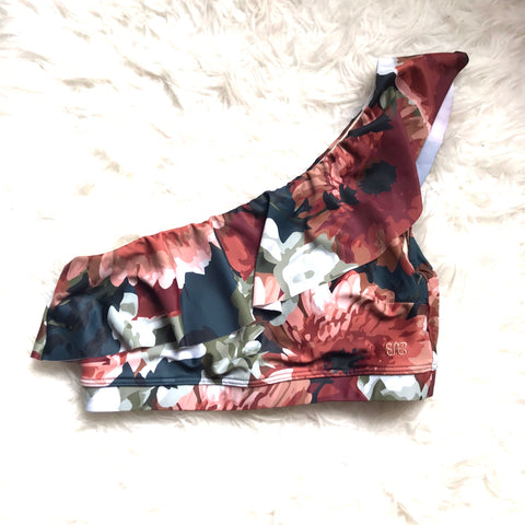 Albion Floral One Shoulder Ruffle Crop Top - Size S (TOP ONLY)