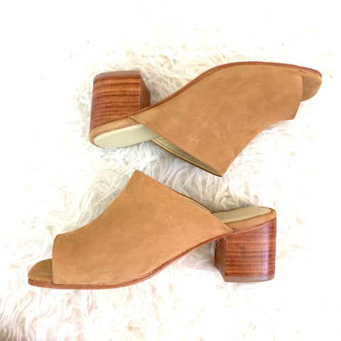 Nisolo Camel Slip On Block Heel made with Genuine Suede Leather- Size 8.5
