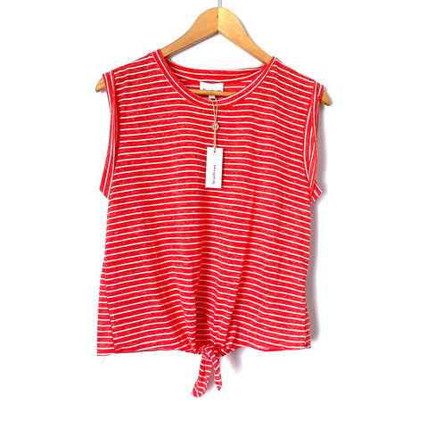 Heartloom Coral and White Striped Front Knot Tank NWT- Size S