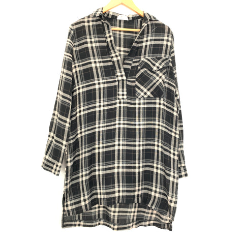 Lira Black Plaid Shirt Dress- Size S