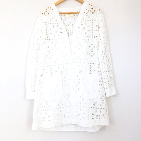 Maeve Anthropologie Geo Eyelet Shirtdress- Size XS