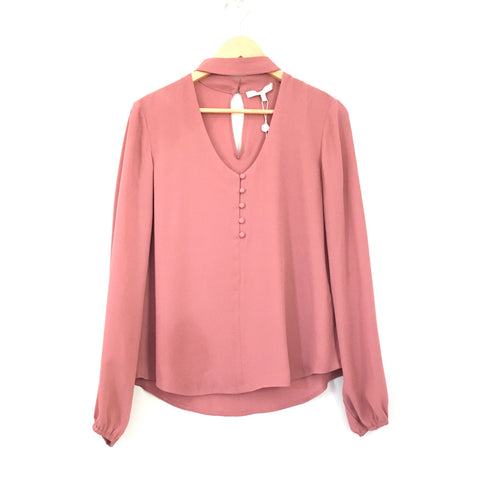 WAYF Mauve Mock Neck Long Sleeve Blouse with Buttons NWT- Size XS