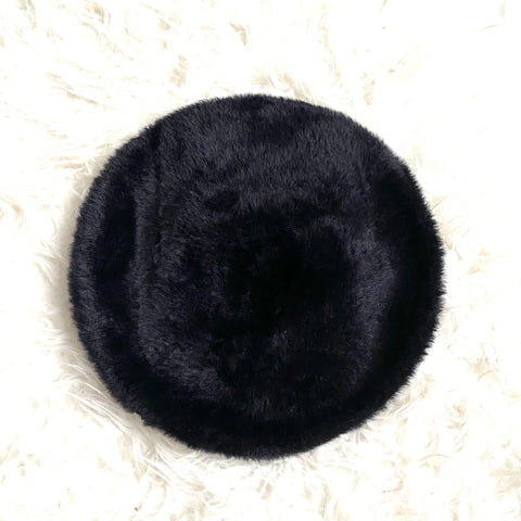 Chico's Black Faux Fur Beaded Baret Hat