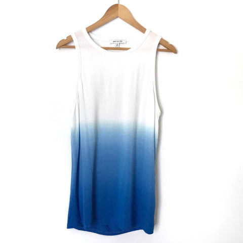 Peace Love World White & Blue Ombré Tank with Keyhole Back- Size S