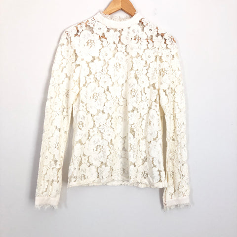 WAYF Ivory Lace Overlay Long Sleeve Top - Size S