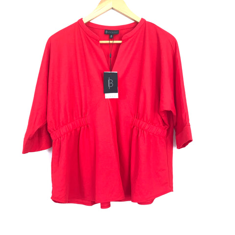 Bobeau Red Linen-like V Neck Blouse with Cinched Sides NWT- Size XS