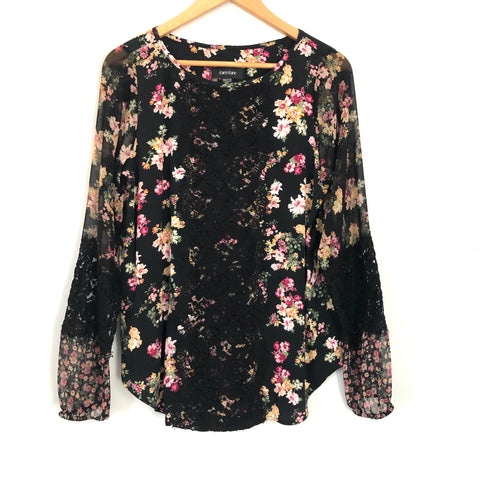 Karen Kane Black Floral Lace Long Sleeve Blouse NWT- Size XS