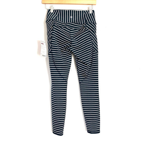 "Athleta Navy Stripe Contender 7/8 Tight NWT- Size XS (Inseam 25"")"