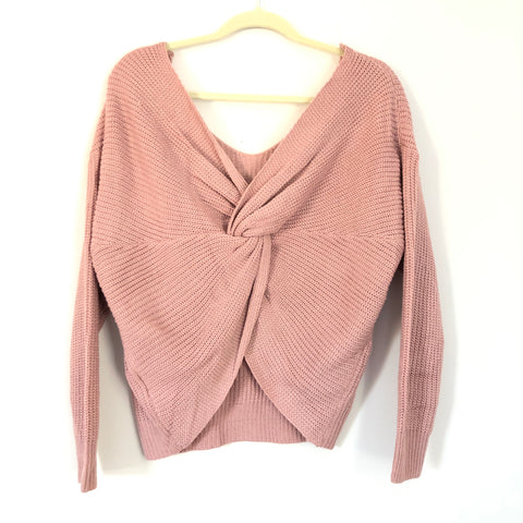 Pink Lily Knit Twist Back Sweater- Size S