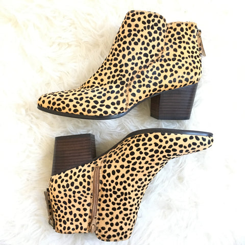 Sole Society Leopard Back Zipper Booties- Size 10