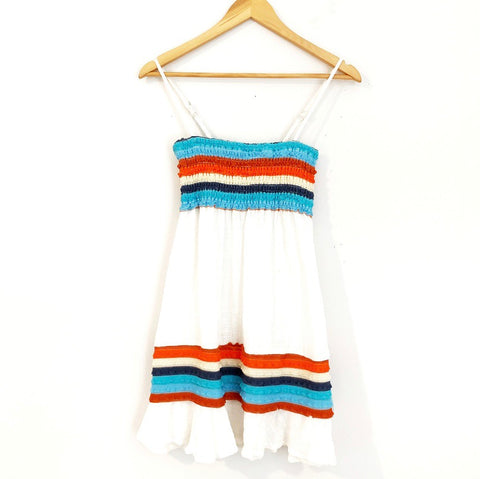 Surf Gypsy White Linen Cover Up with Blue and Orange Stripes- Size S
