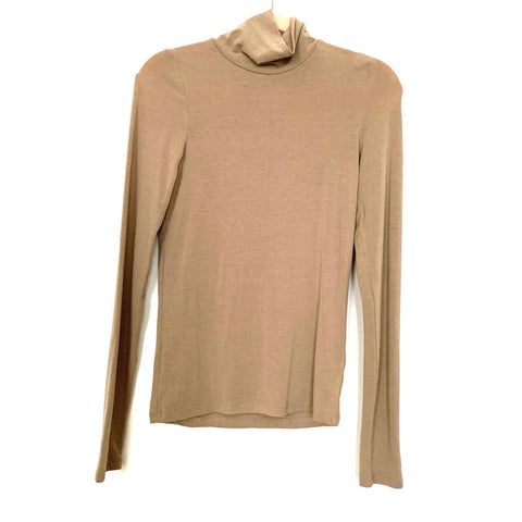 Judith March Tan Turtleneck Long Sleeve Top- Size M