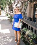Charles Henry Blue Off the Shoulder Dress NWT- Size XS