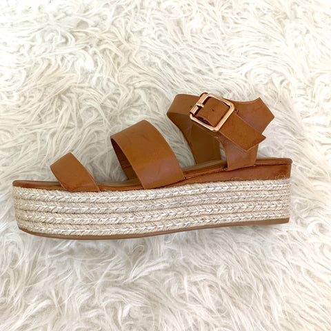 Bamboo Tan Faux Leather Platform Espadrille Sandals- Size 8.5
