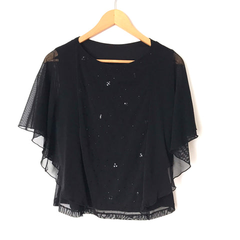 No Brand Black Sequins & Beaded Front Blouse with Sheer Flutter Sleeves- Size ~S
