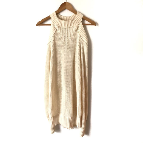 Free People Ivory Knit Cold Shoulder Sweater- Size XS