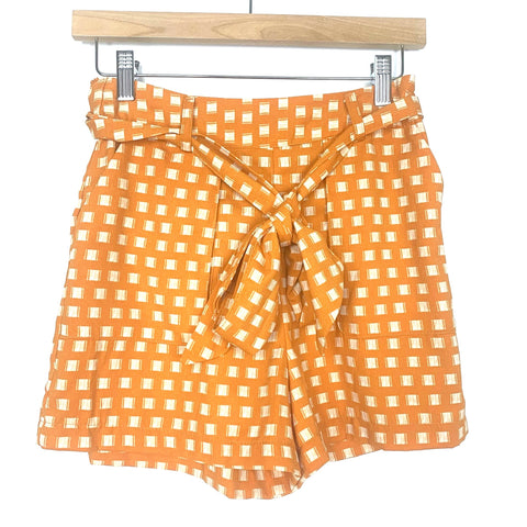 A New Day Mustard and White Printed Belted Shorts- Size XS