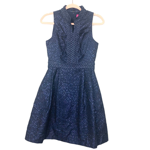 Lilly Pulitzer Navy Metallic Lagoon Jacquard Fit and Flare Zipper Dress NWT- Size 0