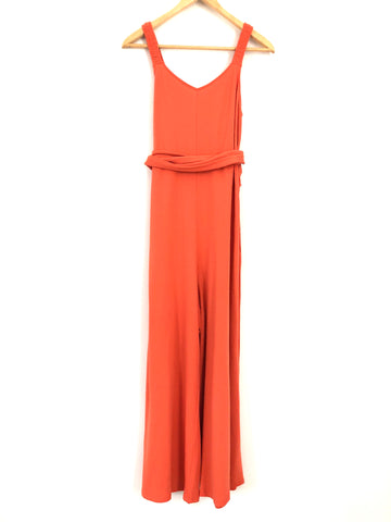 ABLE (Live Fashionable) Tank V-neck Crop Jumpsuit in Blood Orange- Size S