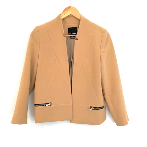 Trouvé Tan Blazer with Zipper Pockets- Size XS