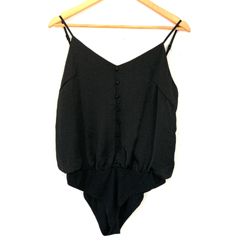 HYFVE Black Faux Button Up Bodysuit- Size S