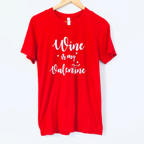 "Graphic Red Tee ""Wine is my Valentine"" - Size S"
