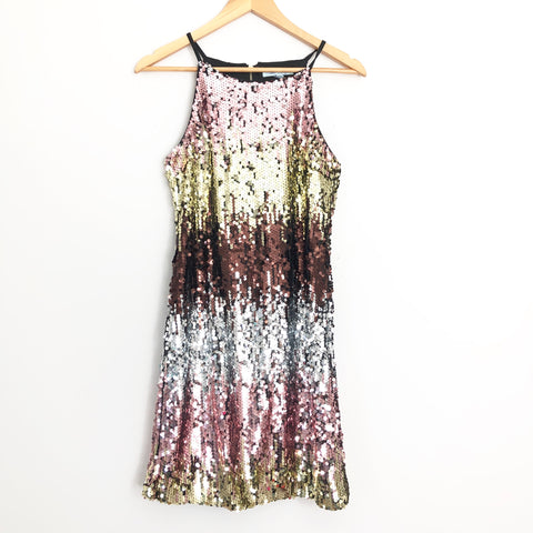 She + Sky Ombre Sequins Racerback Dress- Size S