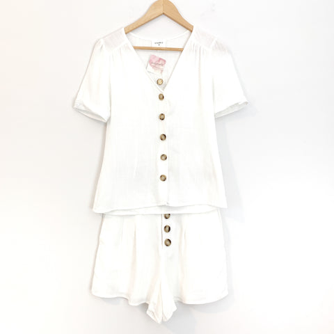 Everly Linen-like Button Up Two Piece Romper NWT- Size S