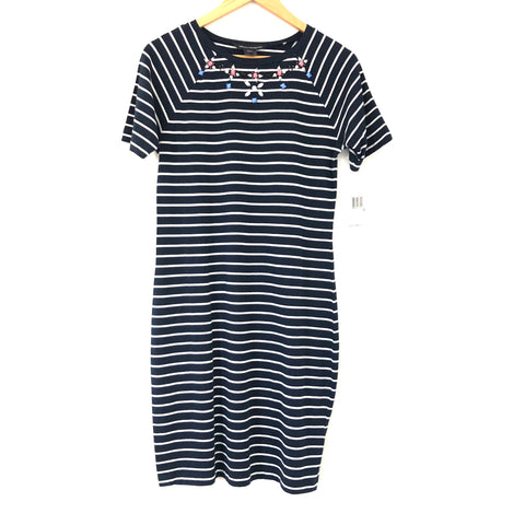 French Connection Striped Beaded T- Shirt Dress NWT- Size 10