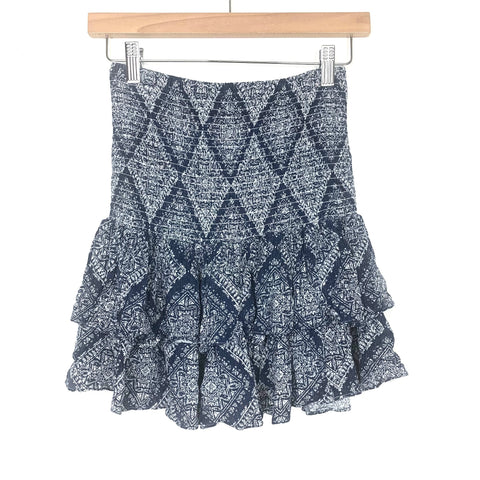 Scoop Navy Printed Smocked Skirt- Size XS (sold out online)