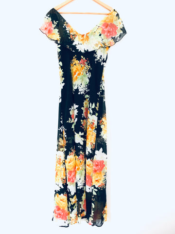 June & Hudson Black Floral Ruffle Cold Shoulder Maxi with Partial Lining- Size XS