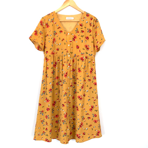 Roolee Mustard Floral Button Up Dress- Size M